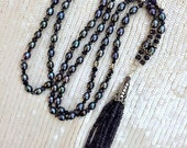 Luxury Gemstone Tassel Necklace Blue Bead Tassel Necklace Pearl Long Boho Statement Necklace Bohemian Tassel Jewelry Semiprecious Gem Pearl