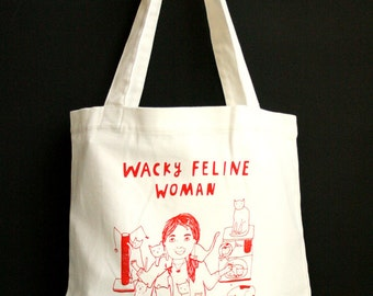 Tote Bag - Wacky Feline Woman