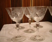 """Set of Six Vintage Etched Glass Champagne Glasses 5 1/4"""" Tall"""