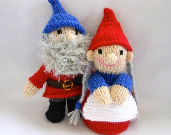 Little Hand Knitted Gnome Couple, Gnome and Gnomette, Home Decor, Holidays, Good Luck Symbol, Fantasy, Good Fortune