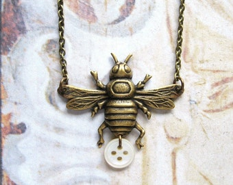 Honey Bee - Antiqued Brass Bee and Vintage Mother of Pearl Button Handmade Necklace