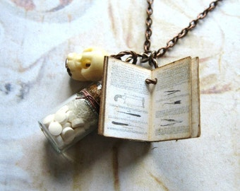 Medical Student - Handmade Copper Chain Necklace With Miniature Antique Medical Book, Bone Skull and Bottle of Medicine Gift Box