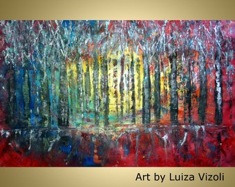 """ORIGINAL 61""""  Abstract Oil Painting /Trees Landscape large canvas / Ready to Ship/ Ready to hang version available Art by Luiza Vizoli"""