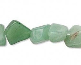 Green Aventurine chip beads - small nugget light green stone beads - 16 inch strand full strand - coyoterainbow -  2 - 10  mm average
