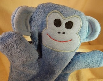 Childrens' Monkey Bath Mitt-Children's Monkey Bath-Monkey Mitt-Minion Puppet Mitt-Monkey Puppet Bath Mitt-Monkey Appliqued Mitt