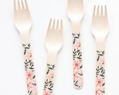 floral wooden utensils - collaboration with 1canoe2