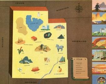 VIntage Pictorial Map of Utah 1939 World's Fair