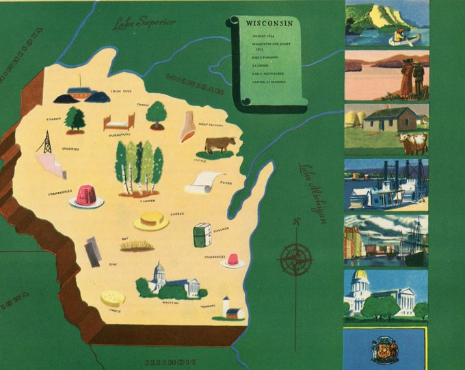 Featured listing image: VIntage Pictorial Map of Wisconsin 1939 World's Fair