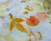 Eco print silk scarf, eco-friendly, leaf print, plant dyed