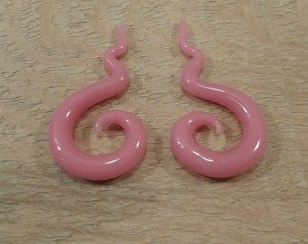 Glass gauges 00g pink glass spiral