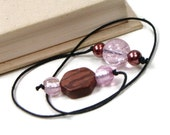 Pink Brown Beaded Bookmark Book Thong Book Cord String Bookmark Gift for Child Book Club Teacher Gift