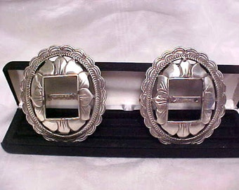VINTAGE 2 Silver Buckle Southwest Heavy Engraved Metal Buckle Slide Fashion Jewelry Supplies #1559