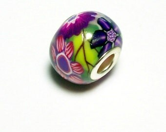 Large Hole Bead Handmade from Polymer Clay - Flower Pattern - Purples and Pinks