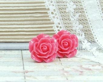 Pink Rose Stud Earrings Pink Rose Earrings Pink Flower Earrings Surgical Steel Watermelon Pink Studs