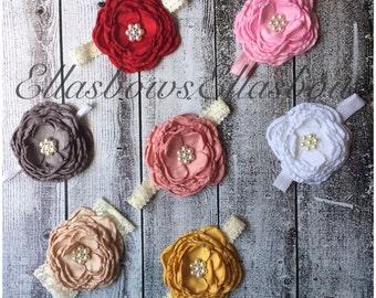 Baby headband..ON SALE..satin flower headband...Baby Headband.... Newborn photo prop...Flowers for women