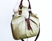 Light taupe bag Leather satchel with pleats and tan accent 4 way bag shoulder tote cross body and backpack