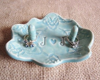 J and J in stock and ready to ship, Cloud Ring dish, Mr.and Mrs.  Mint green ceramic engagement ring bowl Gift for Bride,