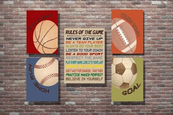Vintage Style Sports Decor, Sports Theme, Vintage Style Sports Art, Boys Room Decor, Basketball, Soccer, Baseball, Football
