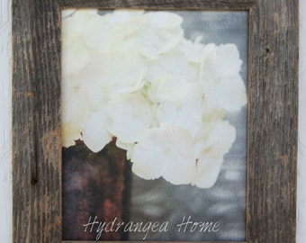 White Hydrangea Framed Canvas