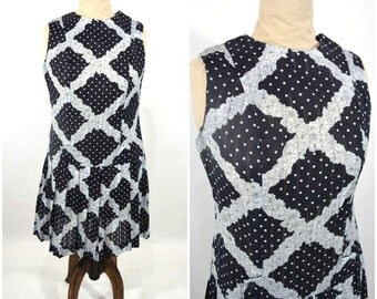 1960s dress vintage 60s black white polka dot floral mod dropwaist dress M/L W 38""