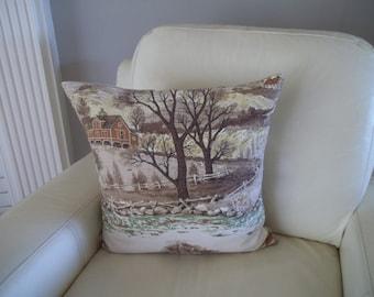Vintage Barkcloth Pillow Cover 18 x 18 Mid Century Decor