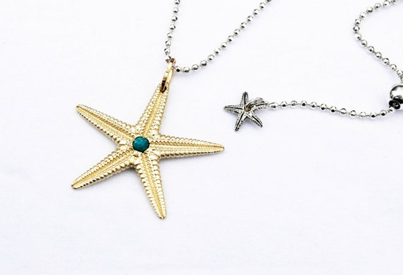 Large Yellow Gold Starfish Charm with Genuine Turquoise Center