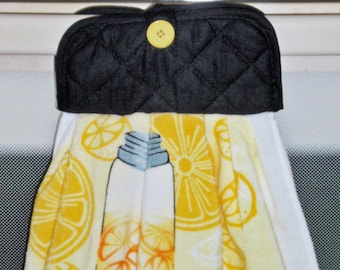 Hanging Kitchen Dish Towel - Lemonade Yellow & Black Pot Holder/Dish Towel Combo, HANDMADE Towel for Easy Accessibility, Handy Dish Towel
