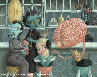 Go Home Brain, You're Drunk - Digital Archival Print - B Movie Monsters at a Tiki Bar