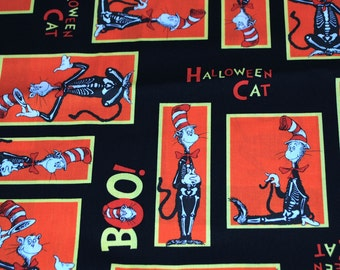 Fat Quarter Dr. Seuss The Cat In The Hat Skeleton Halloween Fabric