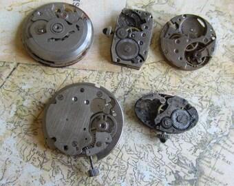 Vintage Antique Watch movements parts Steampunk - Scrapbooking n53