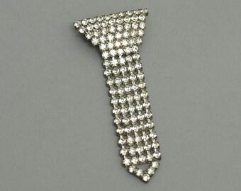 Rhinestone Necktie Pin // Mod Vintage Brooch