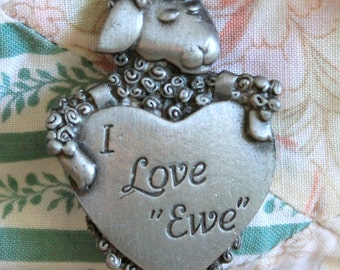 vintage pewter I love you ewe brooch,pewter brooch,I love Ewe brooch,ewe brooch,pewter ewe brooch,I love you,Valentines brooch,woman,teen