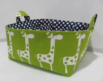Fabric Diaper Caddy - Diaper Bag - Storage Basket - Organizer Bin - Nursery Decor - Personalized/Custom - Baby Gift - Green Giraffes Canvas