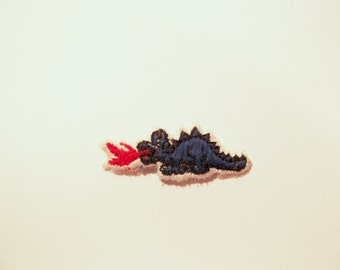Blue Dragon Patch Flames Embroidered Applique for Clothing 1980s cute animal kitsch retro