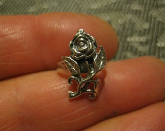 Rose Ear Cuff Earring Sterling 3-D
