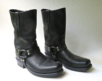 Double H vintage Black Leather Snub Toe Harness Biker Boots