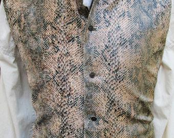 "Python Snakeskin Faux Detailed Pirate Waistcoat/ Vest Rococo Regency 40""-(V23)  FREE SHIPPING!!"