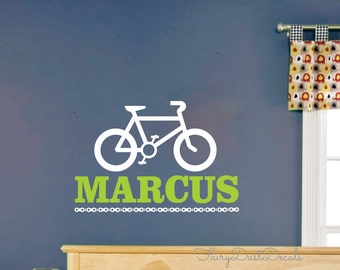 Bike Wall Decal with personalized name vinyl wall lettering Bicycle rub on sticker