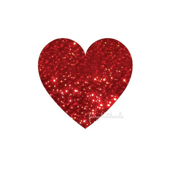 Heart stickers red glitter sparkle vinyl hearts red heart sticker