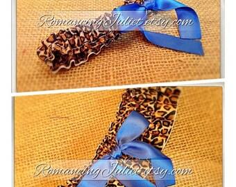 Satin Skirted and Simple Satin Bridal Garter SET...Custom Colors Available..shown in cheetah/royal blue
