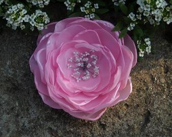 Pale Pink Flower Brooch or Hair Clip