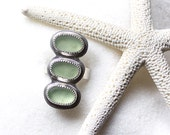 Pastel Green Sea Glass Ring/ Nautical Ring/ Three Pebble Ring/ Genuine Surf Tumbled Sea Glass/ Sterling Silver/ Size 7.5