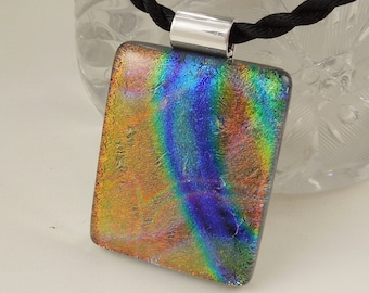 Dichroic Fused Glass Pendant - Mosaic Pendant - Dichroic Glass - Abstract Mosaic Necklace - Organic Necklace X6257