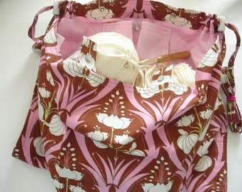 KNITTING BAG APRON - Amy Butler Soul Blossoms Passion Lily -  Ready To Ship