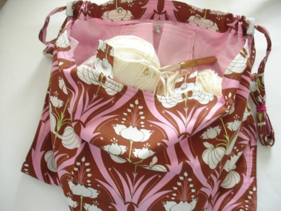 KNITTING BAG APRON Amy Butler Soul Blossoms Passion Lily
