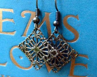 delicate filigree earrings in antique gold finish