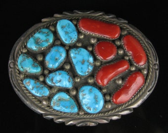 Belt Buckle, Jerry Sluein, Navajo Silversmith, Sterling Silver, Mens Belt Buckle, Genuine Turquoise, Red Coral, Multi Stone