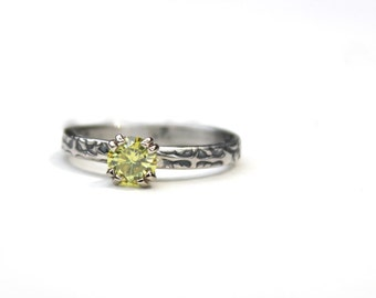 yellow moissanite engagement ring . unique diamond alternative solitaire engagement ring . recycled silver . ready to ship size 5.5