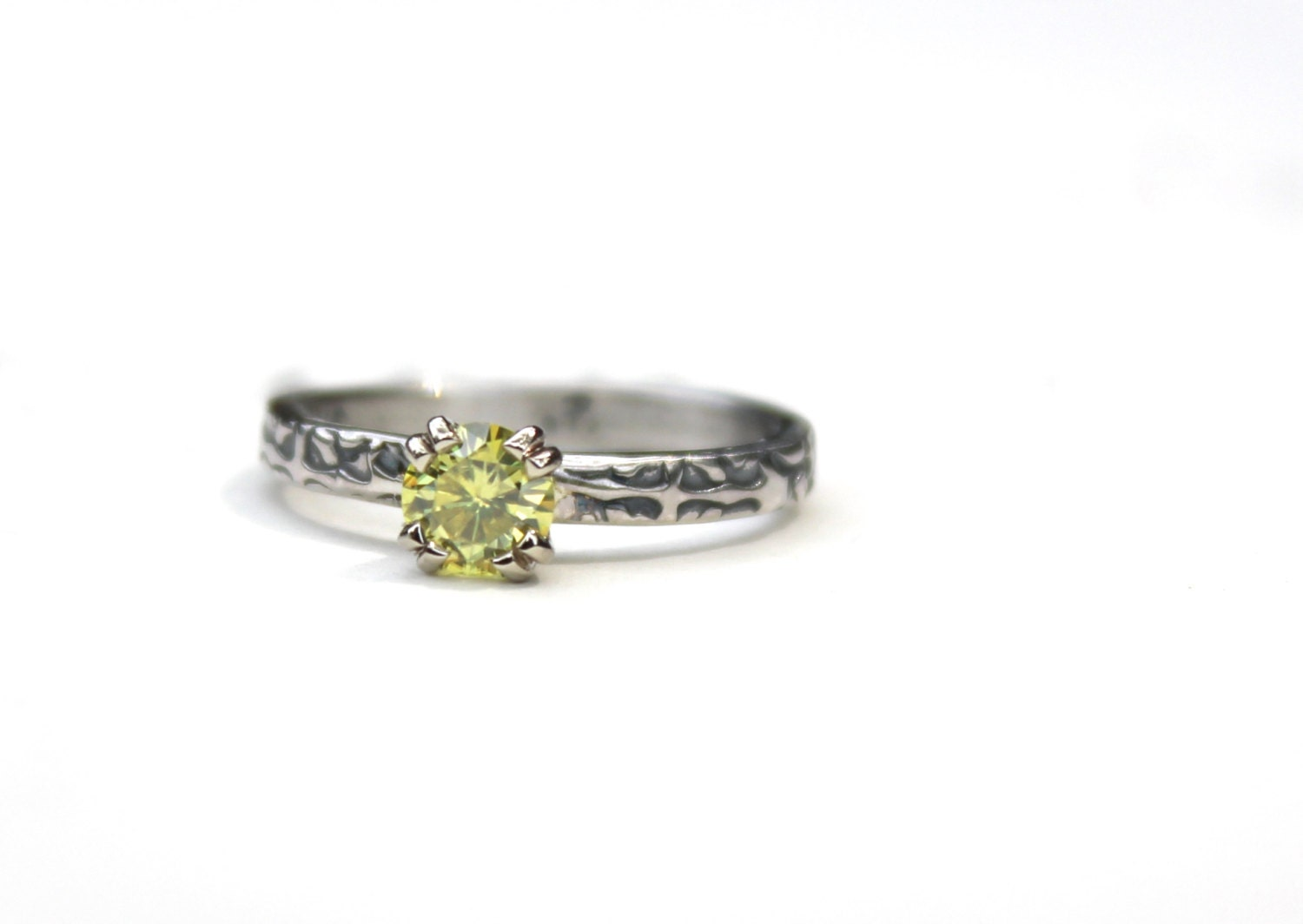 sale yellow moissanite engagement ring unique by