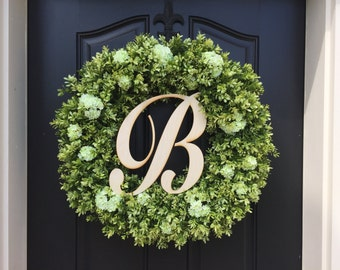 Wreaths, Monogram Boxwood Wreaths, Boxwood Wreath Outdoor, Wreaths, Wreath, Monogram Letter Wreath, Wooden Letter for Wreath